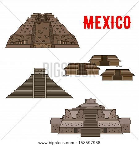 Mexican cultural ancient landmarks icons. Famous archeological Maya and Incas travel objects and sightseings. Vector elements of Uxmal, Teotihuacan, Chichen Itza, Ek Balam