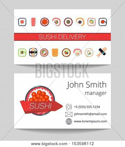 Sushi delivery business card both sides vector template illustration. Japanese menu concept