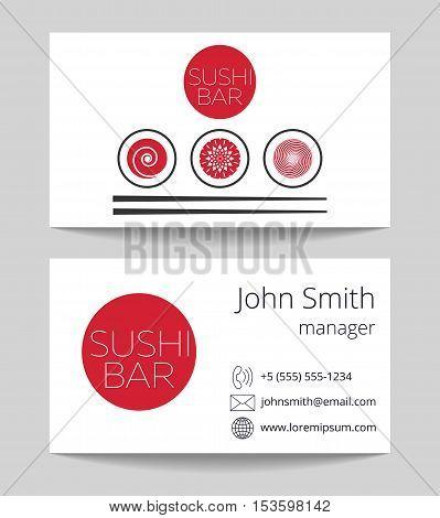 Japanese sushi bar business card both sides vector template illustration