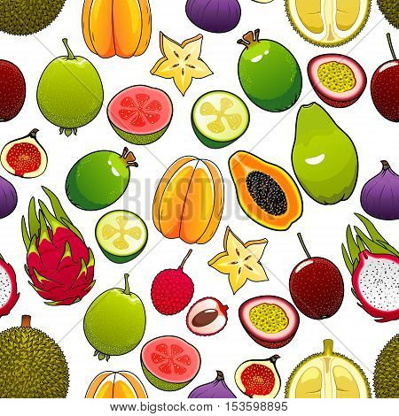 Exotic and tropical fruits. Vector seamless pattern of bright, fresh, juicy, whole and cut papaya, mango, carambola, feijoa, passion fruit maracuja and dragon fruit, lychee and durian, pomelo, guava, fig, mangosteen