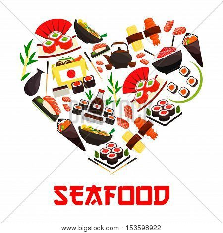 Seafood cuisine emblem in heart shape symbol with vector elements of oriental sushi rolls, salmon fish sashimi, steamed sticky rice, red caviar, ginger, soy sauce. Asian japanese kitchen decoration element