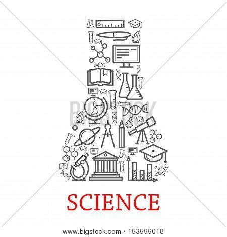 Vector outline science icons in shape of laboratory chemical test vial. Scientific concept elements of planet, architecture, telescope, graduation cap, globe, dna, microscope, monitor, atom