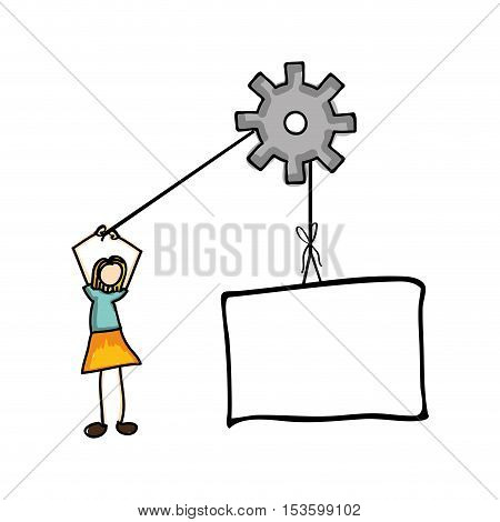 woman and gear cartoon icon image vector illustration design