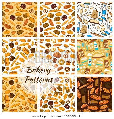 Bakery patterns set. Vector pattern with elements of bread loaf, croissant, baguette, muffin, bun, pretzel, bagel and baking kitchenware knife, butter, dough, flour for patisserie and bakery shop design