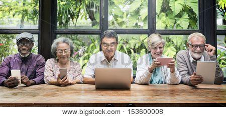 Group Of Senior Retirement Using Digital Lifestyle Concept