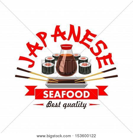 Japanese best quality seafood restaurant emblem. Oriental cuisine sushi bar design icon with vector elements of salmon rolls, soy sauce, bamboo chopsticks, red japanese ribbon with text