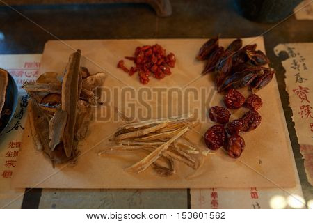 Various ingredient for traditional Chinese medical treatment