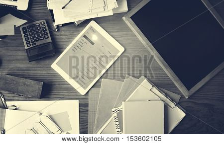 Workplace Workspace Wooden Table Document Concept