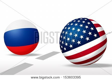 Sphere USA and Russia flag with line, Concept opposite sides