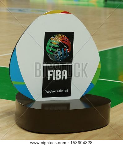 RIO DE JANEIRO, BRAZIL - AUGUST 10, 2016: FIBA emblem at Carioca Arena 1 during the Rio 2016 Olympic Games