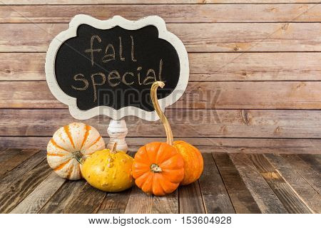 Chalkboard sign and four decorative fall gourds
