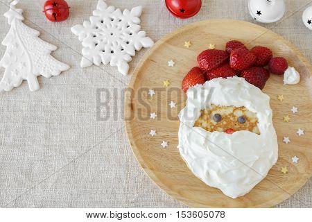 Fun Homemade Santa Pancake Breakfast For Kids,copy Space Background