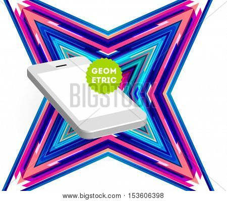 Mobile Phone Icon with Trendy Geometric Background for Mobile Technologies Concepts and Designs - Vector Illustration
