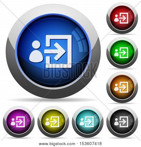 User login icons in round glossy buttons with steel frames
