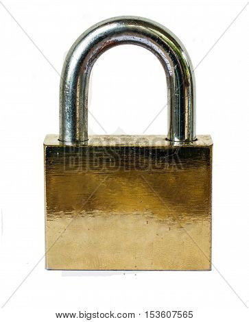 Old Metal padlock on isolated white background