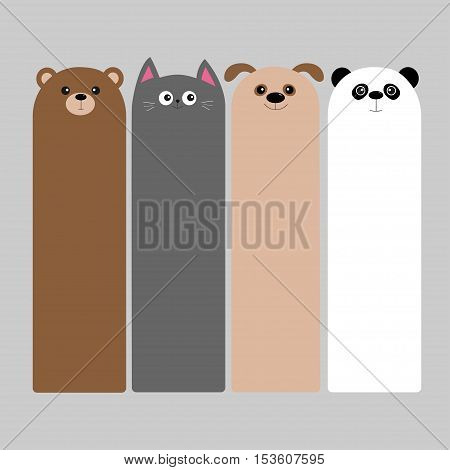 Animal head set. Cartoon kawaii baby bear cat dog panda. Bookmark paper sticker collection. Flat design. Gray background. Vector illustration