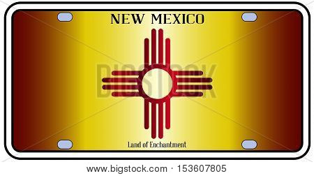 New Mexico state license plate in the colors of the state flag with the flag icons over a white background