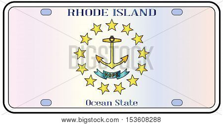 Rhode Island state license plate in the colors of the state flag with the flag icons over a white background
