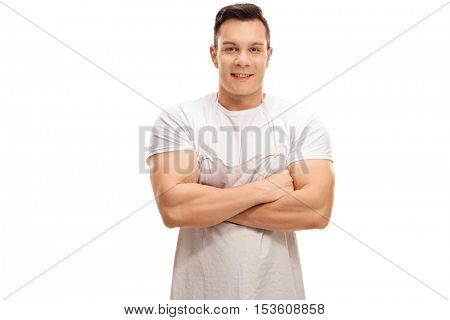 Young butcher posing with his arms crossed isolated on white background
