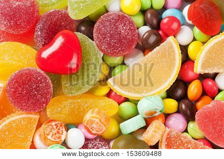 Colorful candies, jelly and marmalade background