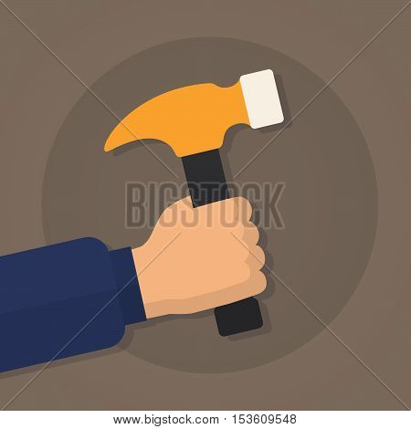 Vector illustration. Hand of worker or carpenter or woodworker holding a hammer. Design element for your stickers card posters emblems web design