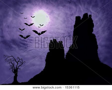 Horror background - Dark ruin and spooky tree with bats
