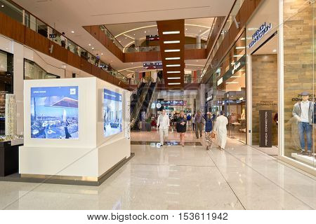 DUBAI, UAE - 15 OCTOBER, 2014: inside the Dubai Mall. The Dubai Mall is a shopping mall in Dubai, United Arab Emirates.