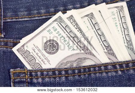 the american dollars in a jeans pocket
