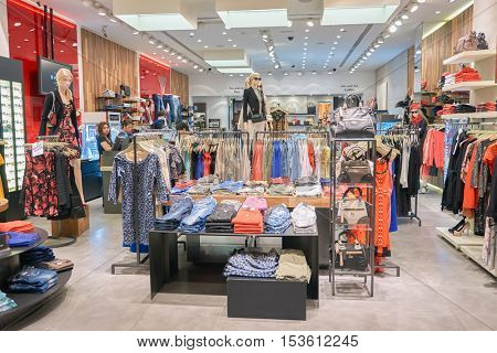 DUBAI, UAE - 15 OCTOBER, 2014: interior of a store at the Dubai Mall. The Dubai Mall is a shopping mall in Dubai, United Arab Emirates.