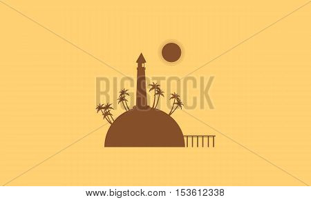 Silhouette of island and bridge landscape vector flat
