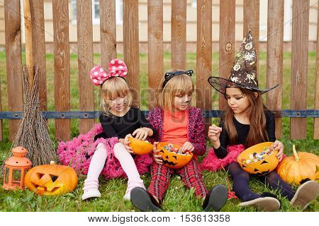 Girls with candies