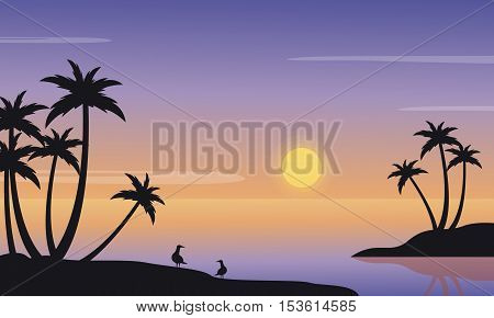 At sunrise seaside landscape of silhouette vector iillustration