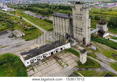 Golyshmanovo, Russia - August 20, 2015: Aerial view on grain elevator