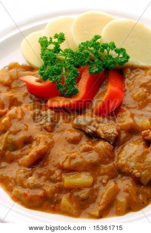 Goulash with sliced potato dumplings