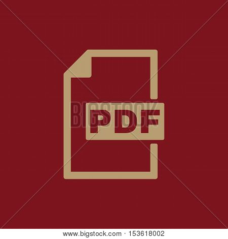 The PDF icon. File format symbol. Flat Vector illustration