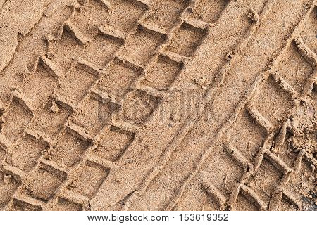 Truck Tire Track On Wet Sand