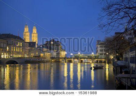 Zurich at twilight