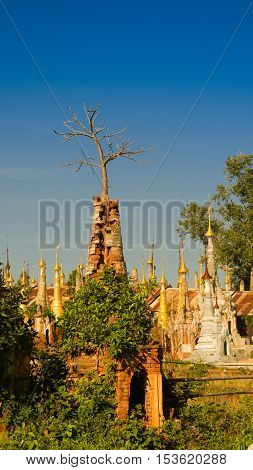 Ruined buddhist stupas in Inn Dein Myanmar
