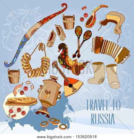 Welcome to Russia. Traditional Russian cuisine and culture. Travel concept. Traveling design. Russia map vector