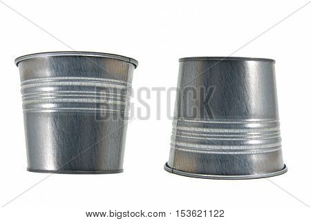 Steel cans upside down with white background, stationary