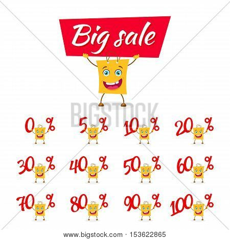 Funny Cartoon Shopping Bag Holding Different Percents Discount From Zero Up To One Hundred And Poste