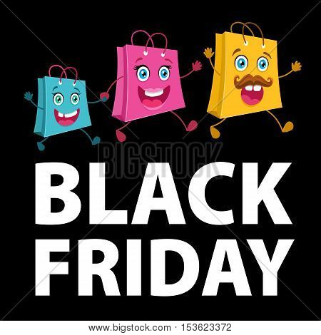 Black Friday Sale. Happy Shopping Bags Family Running To The Store.  Vector Funny Cartoon Flat Backg
