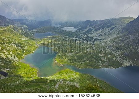 Amazing Panorama of The Twin, The Trefoil, The Fish and the upper Lakes, The Seven Rila Lakes, Bulgaria