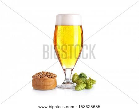 Glass of light beer, barley and hop isolated on white