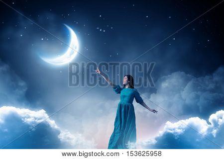 Woman levitating in sky . Mixed media