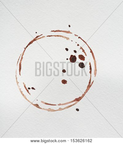 Coffee stains on white background, closeup