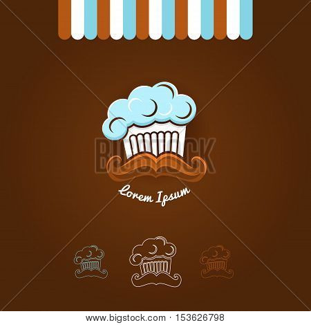 Logotype With Cook Cap, Cup Cake And Mustache