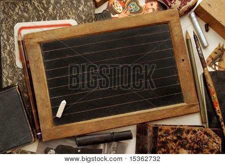 Vintage blackboard and other children objects