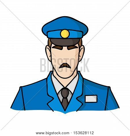 Museum security guard icon in cartoon style isolated on white background. Museum symbol vector illustration.