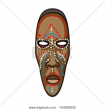 African mask icon in cartoon style isolated on white background. Museum symbol vector illustration.